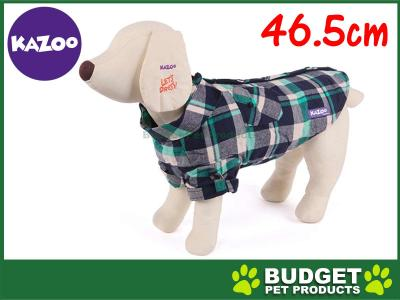 Kazoo Flano Shirt Dog Coat Green Medium 46.5cm