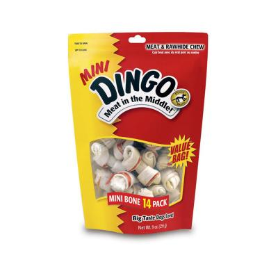 Dingo Rawhide Bone Meat In The Middle Mini Treats For Dogs 14 Pack Value Bag 170gm