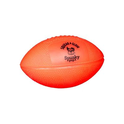 Spunky Pup Squeak And Glow In The Dark Football Toy For Dogs 14cm