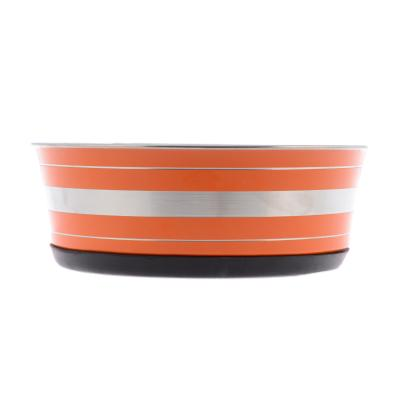Yours Droolly Stainless Steel Orange Medium Bowl 17.5cm For Dogs Cats Birds Small Animals