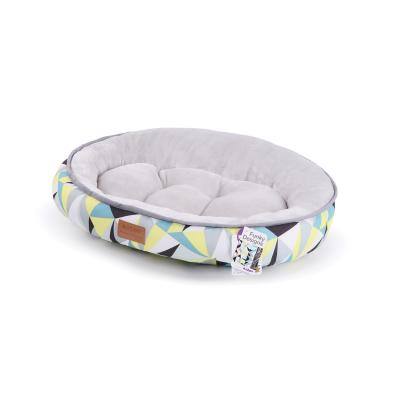 Kazoo Funky Round Cushioned Lemon Grey Small Bed For Cats And Dogs