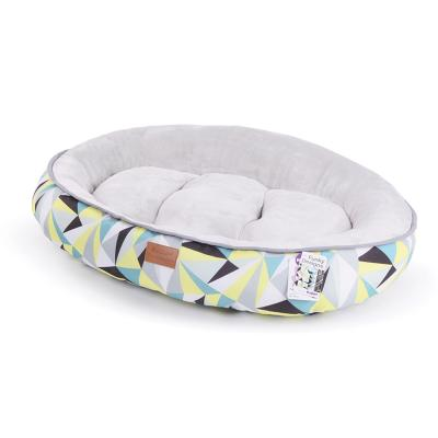 Kazoo Funky Round Cushioned Lemon Grey Medium Bed For Cats And Dogs