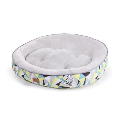 Kazoo Funky Round Cushioned Lemon Grey Large Bed For Cats And Dogs