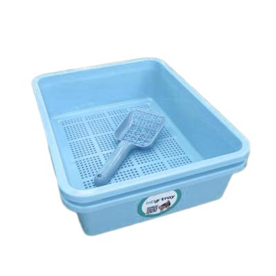 Kitter Cat Litter Blue Double Tray Set And Scoop For Wood Pellets
