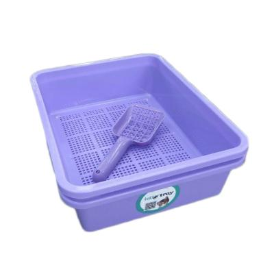 Kitter Cat Litter Purple Double Tray Set And Scoop For Wood Pellets