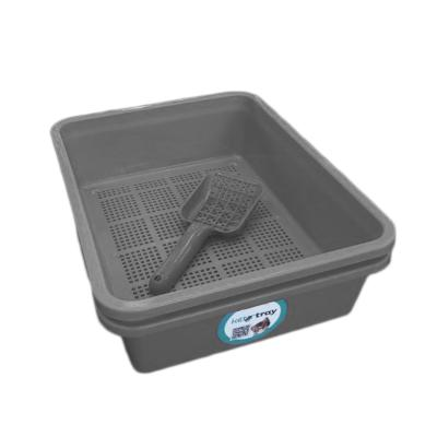 Kitter Cat Litter Charcoal Double Tray Set And Scoop For Wood Pellets