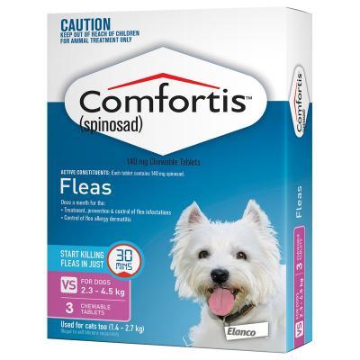 Comfortis For Dogs 2.3-4.5kg Pink 3 Tablets