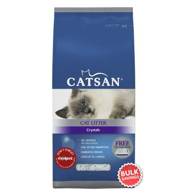Catsan Crystal Litter With Tray Liner x 4 For Cats 8kg