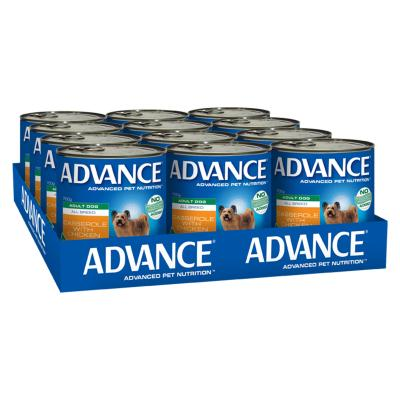 Advance All Breed Chicken Casserole Adult Canned Wet Dog Food 700g x 12