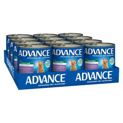 Advance Chicken Turkey With Rice All Breed Adult Canned Wet Dog Food 700g x 12