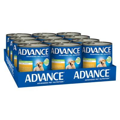 Advance All Breed Weight Control Chicken And Rice Adult Canned Wet Dog Food 700g x 12