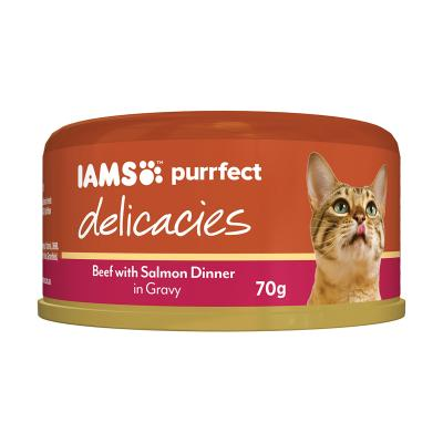 Iams Purrfect Delicacies Beef Salmon Dinner In Gravy Canned Wet Cat Food 70gm x 24