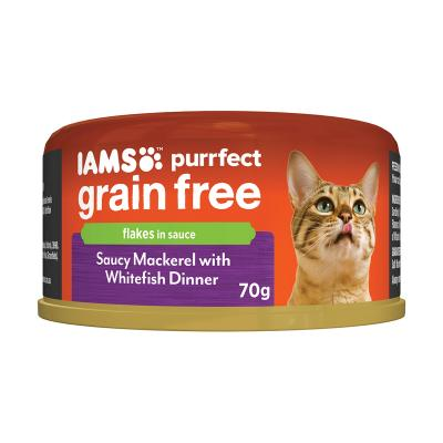 Iams Purrfect Grain Free Saucy Mackerel With Whitefish Flakes In Sauce Canned Wet Cat Food 70gm x 24