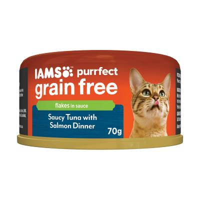 Iams Purrfect Grain Free Saucy Tuna With Salmon Flakes In Sauce Canned Wet Cat Food 70gm x 24