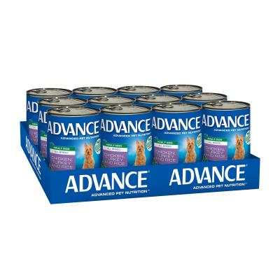 Advance All Breed Chicken Turkey And Rice Adult Canned Wet Dog Food 410g x 12