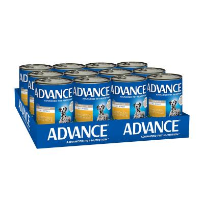 Advance All Breed Sensitive Chicken And Rice Adult Canned Wet Dog Food 410g x 12