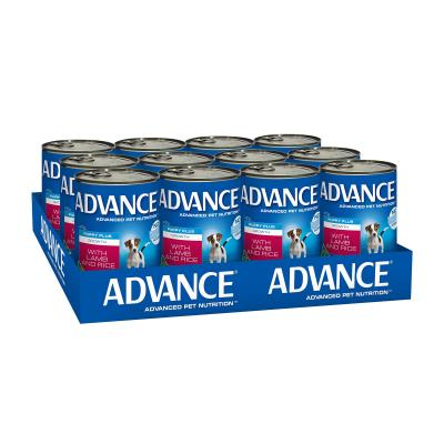 Advance Puppy Plus Growth Lamb And Rice Canned Wet Dog Food 410g x 12