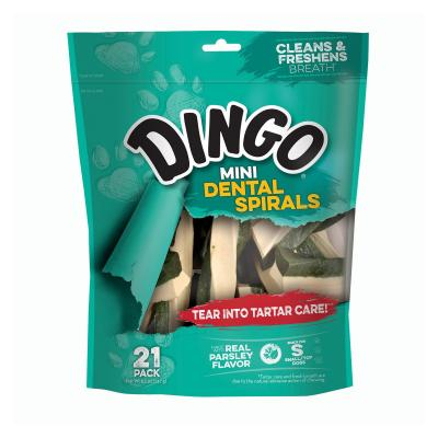Dingo Dental Spirals Parsley Mini Treats For Dogs 21 Pack 147gm