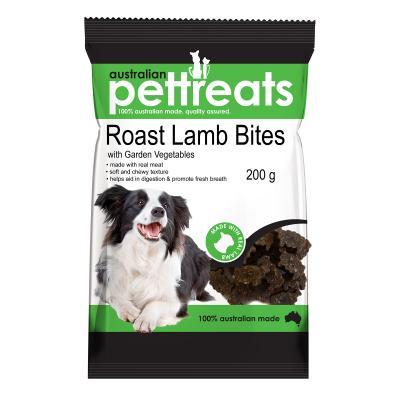 Australian Pettreats Bites Lamb With Garden Vegetables Mint Treats For Dogs 200gm