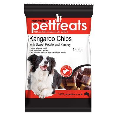 Australian Pettreats Chips Kangaroo With Sweet Potato And Parsley Treats For Dogs 150gm