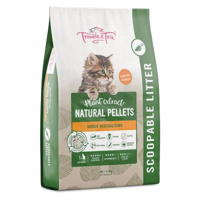 Trouble & Trix Plant Extract Natural Pellet Clumping Cat Litter 10lt 4.8kg