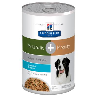 Hills Prescription Diet Canine Metabolic + Mobility Weight Plus Joint Care Vege Tuna Stew Canned Wet Dog Food 354gm x 12 (10086)