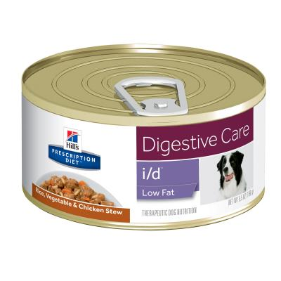 Hills Prescription Diet Canine i/d Digestive Care Low Fat Rice Vege Chick Stew Canned Wet Dog Food 156gm x 24 (3391)
