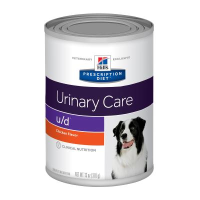 Hills Prescription Diet Canine u/d Urinary Care Chicken Canned Wet Dog Food 370gm x 12 (7016)