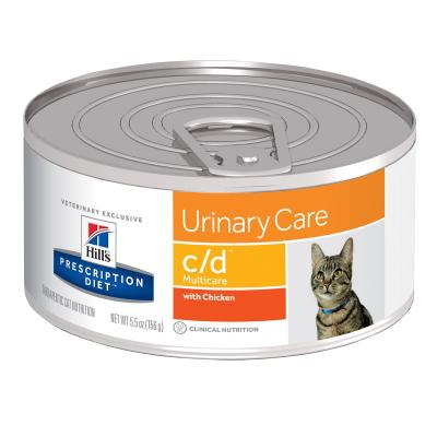 Hills Prescription Diet Feline c/d Urinary Care Multicare Chicken Canned Wet Cat Food 156gm x 24 (6238)