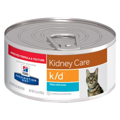 Hills Prescription Diet Feline k/d Kidney Care Pate With Tuna Canned Wet Cat Food 156gm x 24 (2698)