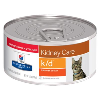 Hills Prescription Diet Feline k/d Kidney Care Pate With Chicken Canned Wet Cat Food 156gm x 24 (9453)
