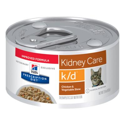 Hills Prescription Diet Feline k/d Kidney Care Chicken Vegetable Stew 82gm x 24 Canned Wet Cat Food (3393)