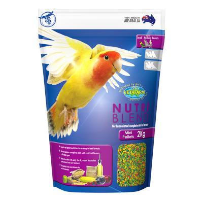 Vetafarm Nutriblend Pellets Mini Complete Food For Small Medium Parrot Birds 2kg
