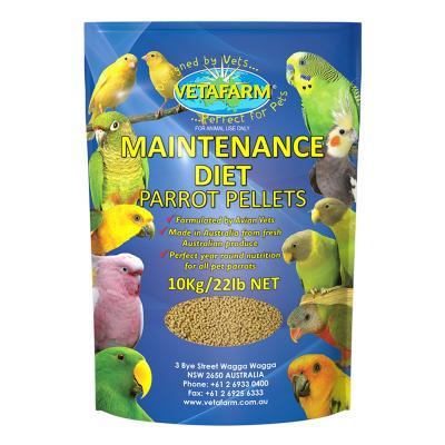 Vetafarm MD Maintenance Diet Parrot Pellets Complete Food For Small Medium Parrot Birds 10kg