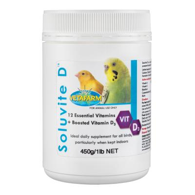 Vetafarm Soluvite D Indoor Daily Vitamin Boosted D3 Supplement For Birds 450g