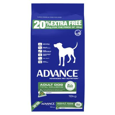 *** 20% FREE *** Advance All Breed Chicken Adult Dry Dog Food 18kg