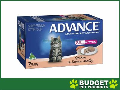 Advance Chicken And Salmon Kitten Canned Wet Cat Food 85gm 6 X 7