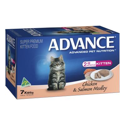 Advance Chicken and Salmon Kitten Canned Wet Cat Food 85gm x 7