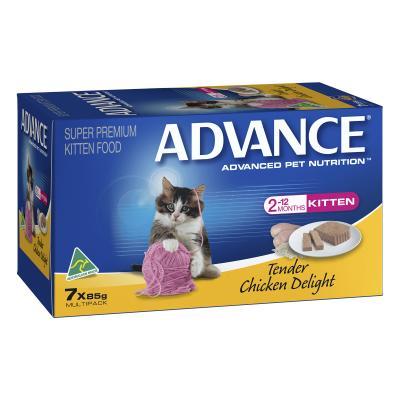 Advance Tender Chicken Kitten 2-12 Months Tray Canned Wet Cat Food 85gm x 7