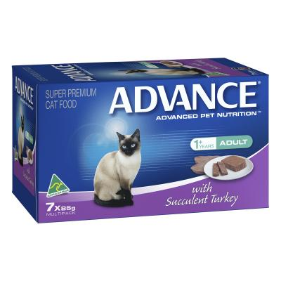 Advance Succulent Turkey Adult Canned Wet Cat Food 85gm x 7
