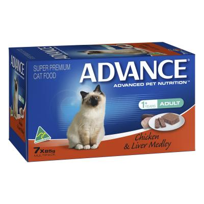 Advance Chicken And Liver Adult 1+ Years Tray Canned Wet Cat Food 85gm x 7