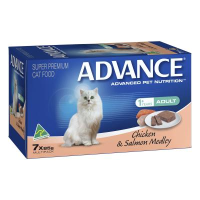 Advance Chicken And Salmon Adult 1+ Years Tray Canned Wet Cat Food 85gm x 7