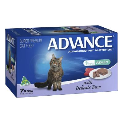Advance Delicate Tuna Adult 1+ Years Tray Canned Cat Wet Food 85gm x 7