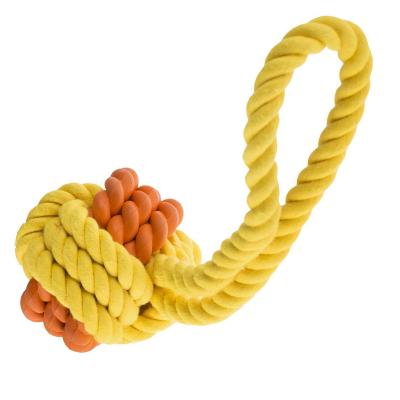 Yours Droolly Rubber And Rope Ball With Handle Toy For Dogs 6cm