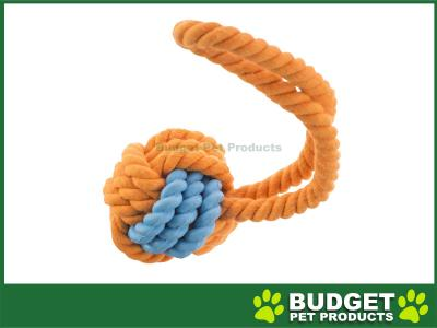 Yours Droolly Rubber And Rope Ball With Handle Toy For Dogs 9.5cm