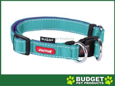 Kazoo Active Adjustable Nylon Reflective Collar Aqua Purple Large 37-55cm x 20mm For Dogs
