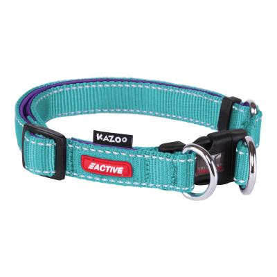 Kazoo Active Adjustable Nylon Reflective Collar Aqua Purple Large 37-55cm x 20mm For Dogs