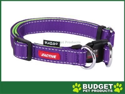 Kazoo Active Adjustable Nylon Reflective Collar Purple Lime Large 37-55cm x 20mm For Dogs