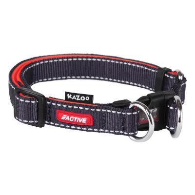 Kazoo Active Adjustable Nylon Reflective Collar Slate Grey Orange Medium 28-40cm x 15mm For Dogs
