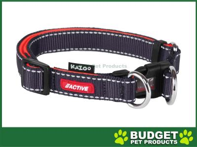 Kazoo Active Adjustable Nylon Reflective Collar Slate Grey Orange Large 37-55cm x 20mm For Dogs